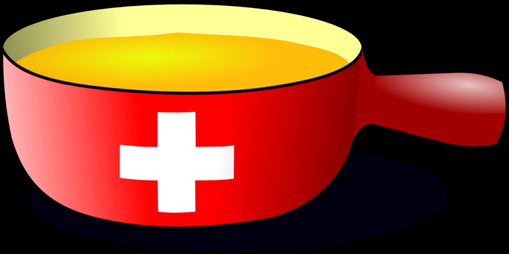 käsefondue topf mit schweizer flagge